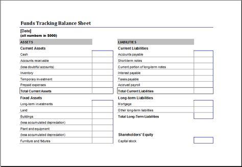 Opening Day Balance Sheet Download At HttpWwwTemplateinnCom