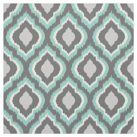 Aqua and Gray Ikat Moroccan Fabric