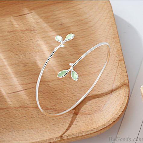 Linda y exclusiva hoja de regalo para mujer Pulsera abierta Verde Opal Hojas Pulsera abierta de plata