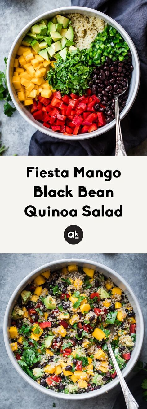 This healthy mango black bean quinoa salad with avocado will be your favorite easy lunch or summer salad to bring to parties. Dressed with a yummy honey chipotle lime dressing for vibrant, bright flavor. It stays good in the fridge for days and can be made ahead of time. #quinoasalad #healthylunch #vegetarianrecipe #mealprepping #quinoarecipe #partyfood