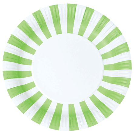 Striped Paper Plates - Green