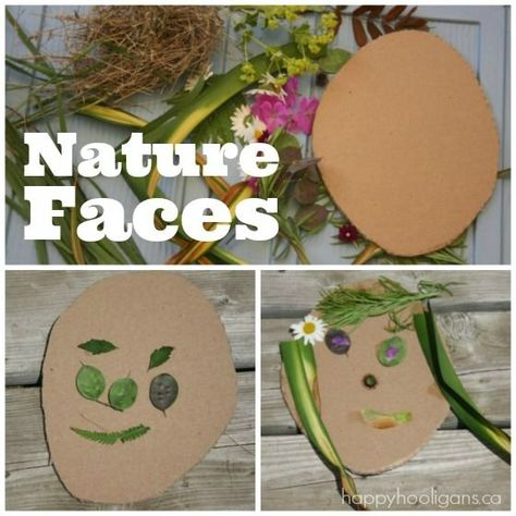 Nature Faces: Creating art with flowers and leaves! Take the kids on a nature hunt, and create art with your findings! - Happy Hooligans ideas for kids Nature Faces - Self-Portrait Art for Preschoolers Preschool Art, Toddler Preschool, Toddler Crafts, Toddler Activities, Crafts For Kids, Kids Nature Crafts, Outdoor Preschool Activities, Nature For Kids, Sensory Activities