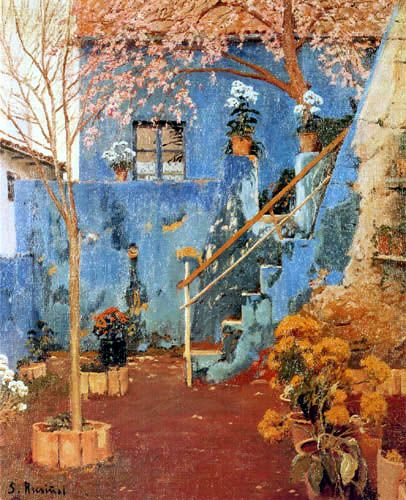 Blue Courtyard Arenys de Munt 1913 SANTIAGO RUSINOL Spanish Art Poster
