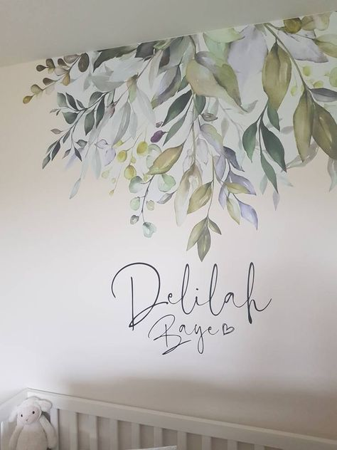 Elin George added a photo of their purchase Wall Painting Decor, Mural Wall Art, Wall Decor, Painting Murals On Walls, Painting Bathroom Tiles, Nursery Wall Murals, Baby Room Design, Girl Bedroom Designs, Watercolor Walls