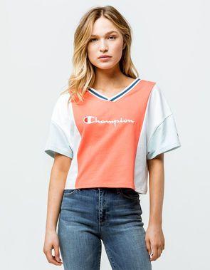 a47707396c4b CHAMPION Color Block Womens Crop Tee | Clothez in 2019 | Crop tee ...