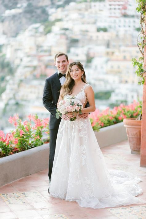 Christine of Tour de Lust looks like a princess in our #GALA210 tulle embroidered ballgown with embroidered lace trimming and immense floral patterns for her Italian destination wedding.