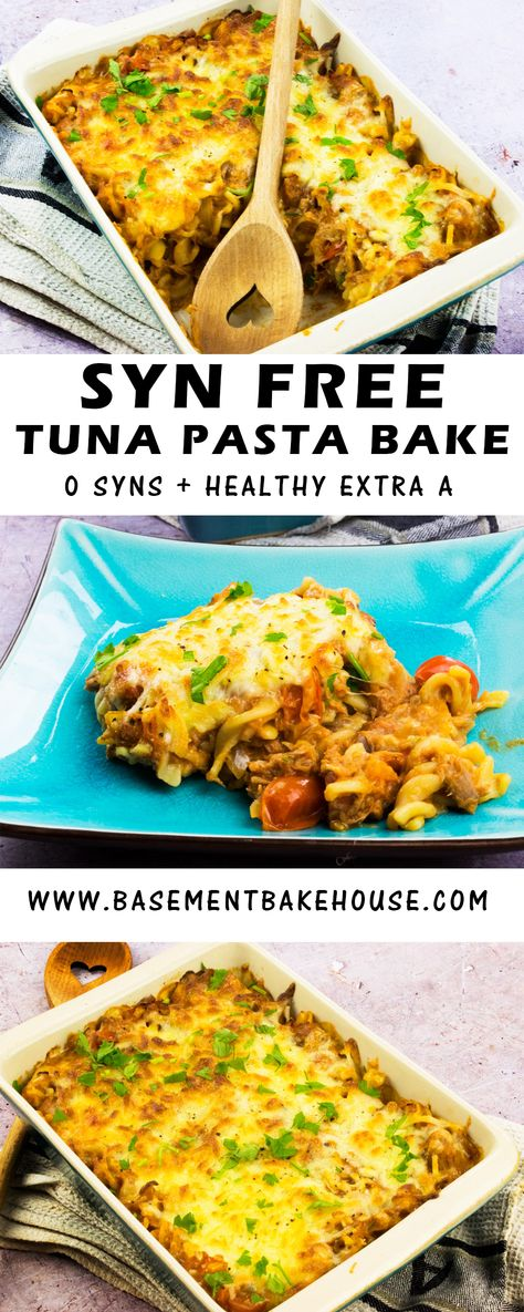 This Syn Free Tuna Pasta Bake recipe is the perfect Slimming World lunch or dinner recipe to make for the whole family!  Ready in just 30 minutes it's perfect for meal prep or as a healthy, comfort food dinner.
