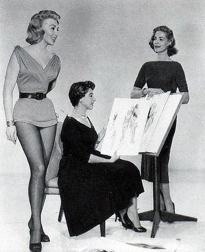 Helen Rose, costume designer, with Dolores Gray & Lauren Becall
