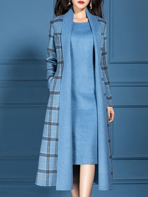 Type:Checkered/PlaidSleeve Type:Long SleeveSilhouette:ShiftThickness:Mid-weightMaterial:PolyesterNeckline:V neckOccasion:Office & vestidos Checkered/plaid V Neck Dress with Coat Work Two-piece Set Mode Outfits, Dress Outfits, Fashion Outfits, Peplum Dresses, 2000s Fashion, Fashion Hacks, Fashion Sets, Womens Fashion, Fashion Trends
