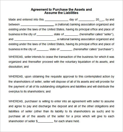 asset purchase agreement template Word Agreement Pinterest - lease purchase agreement
