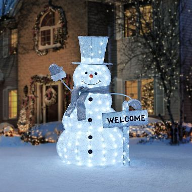 Member S Mark 52 Snowman With Welcome Sign Sam S Club Simple Christmas Decor Outdoor Christmas Outdoor Christmas Decorations