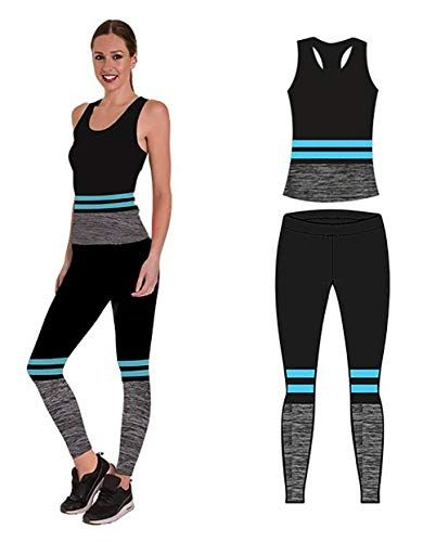 Unbekannt Bonjour Damen Sportswear Wear Weste Und Crop Top Leggings 2 Stuck Stretch Fit Yoga Gym Wear Set Turquoise Stripe Avec Images Vetement Sport Leggings Legging