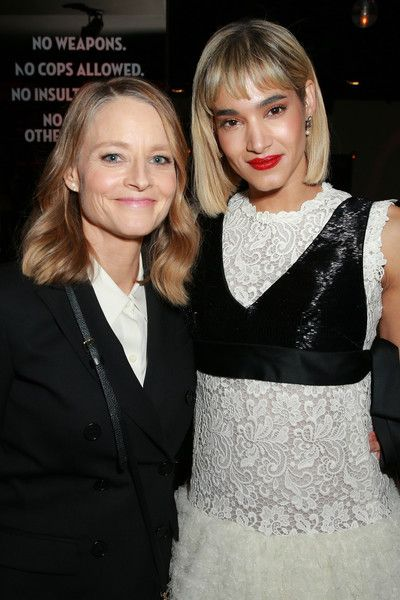 Jodie Foster (L) and Sofia Boutella attend the after party for Global Road Entertainment's 'Hotel Artemis' premiere at STK.