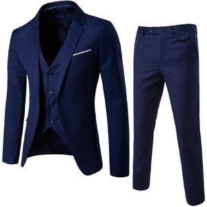 Bleu Foncé Slim Fit Costume Homme Groom Best Man smokings Casual Business Suits