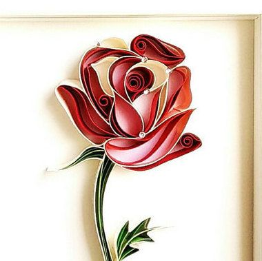 Rose Paper Quilled Framed Single Red Rose Quilled by PaperSplash