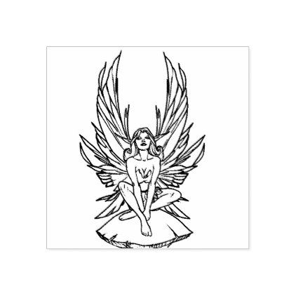 Fairy Sitting On A Mushroom Rubber Stamp Zazzle Com Small Fairy Tattoos Rubber Stamps Fairy Tattoo