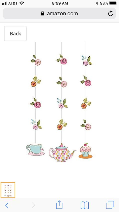 Tea Time Hanging Cutouts features adorable tea party themed cutouts at the ends