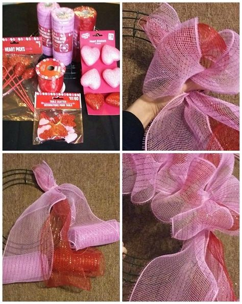 How to Make a Deco Mesh Valentine Wreath - Crafty Morning Today I am sharing another one of Cathy Hubbert Kollman's beautiful wreaths and this one is for V Mesh Ribbon Wreaths, Deco Mesh Wreaths, Red Ribbon, Deco Mesh Crafts, Diy Valentines Day Wreath, Valentines Day Decorations, Valentine Crafts, Valentine Ideas, Printable Valentine