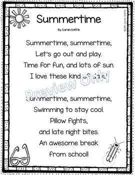 Summertime - Printable Summer Poem for Kids