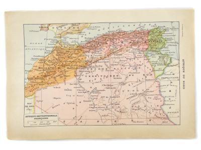 Carte De L Afrique Du Nord Maghreb Gravure Ancienne Larousse