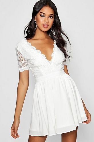 Bardot Plunge High Low Skater Dress Boohoo Vestidos De Novia