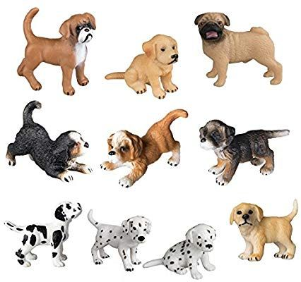 Amazon Com Toymany 10pcs Dog Figurines Playset Realistic Detailed Plastic Puppy Figures Hand Painted Emulational Do Dog Figurines Pet Toys Miniature Puppies