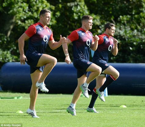 Sam Burgess (left) and Owen Farrell (centre) train after being picked to start for England.