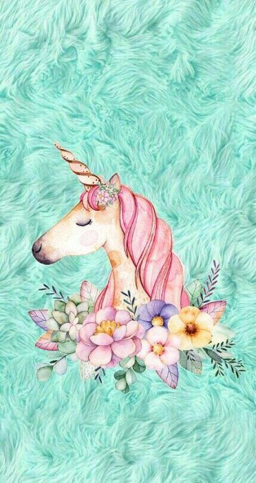 Fondo de pantalla para celular con un dibujo de unicornio rodeado de flores y terciopelo verde