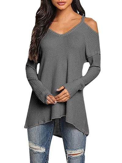 c48c79b4349 Women Sweaters Loose Long Sleeve Off Shoulder Knitted Sweater Women ...