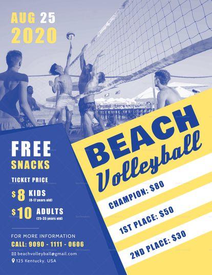 Beach Volleyball Flyer Template Volleyball Posters Beach Volleyball Flyer