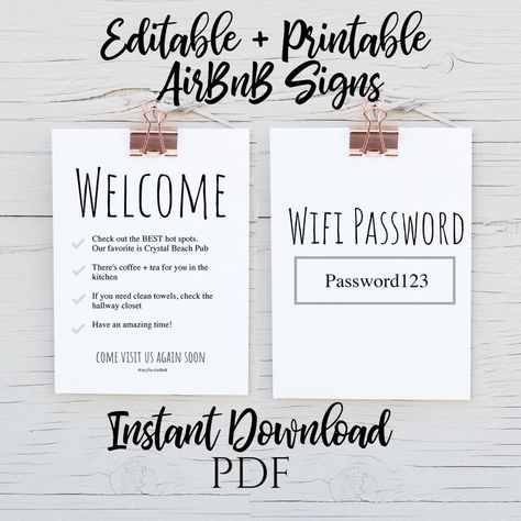 INSTANT DOWNLOAD - AirBnB Printable Signs - Wifi and Welcome Sign - PDF file - Edit and Print as many times as you need