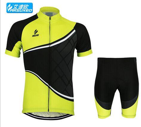 ARSUXEO Mens Cycling Short Sleeves MTB Jersey Bike Bicycle Sets Shirts  Padded Cycling Clothing Sets 6854a7d7d