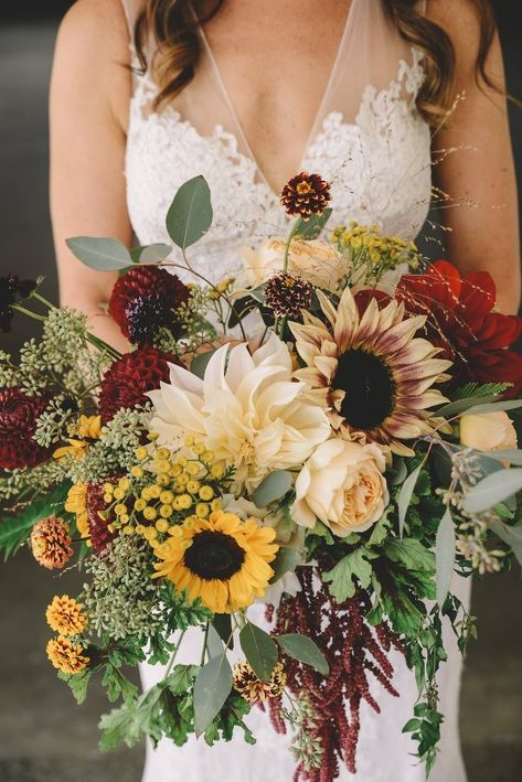 A stunning sunflower bouquet. bouquets sunflowers Ashley and Ramit's Wedding - Color Pop Events Fall Wedding Bouquets, Fall Wedding Flowers, Fall Wedding Colors, Bridal Flowers, Floral Wedding, Sunflower Wedding Flowers, Wedding Bouquets With Sunflowers, Fall Sunflower Weddings, Purple Bouquets