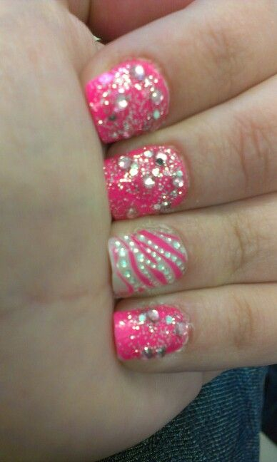 Nail Designs With Rhinestones And Glitter Nails On