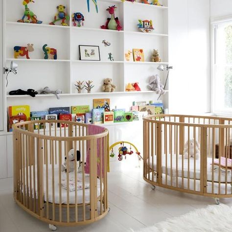 Modern celebrity baby nursery decorating idea with white walls