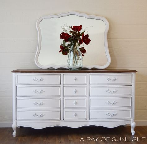 French Provincial Farmhouse 9 Drawer Dresser Refinished in White with Stained Top