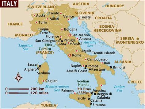 Mapa De Italia Fisico Y Politico Con Regiones Provincias Y