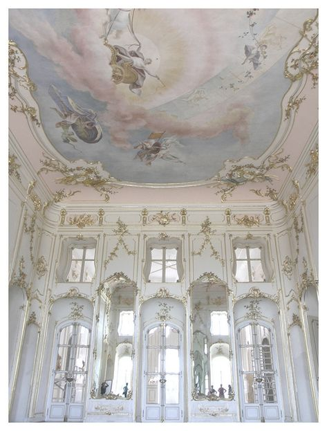 This image identifies the Rococo period with the pale colours and mirrors Rococo interior of Esterháza Palace in Fertod, Hungary. Often referred to as the Versailles of Hungary. Art Et Architecture, Beautiful Architecture, Beautiful Buildings, Beautiful Places, Beautiful Meaning, Classical Architecture, Ancient Architecture, Versailles, Angel Aesthetic