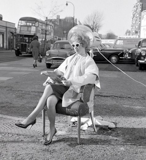 Outdoor hairdressing, Finchley Road, London 1961*