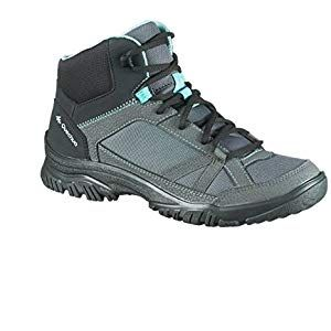 Quechua Nh 100 Mid Women S Nature Hiking Boots Grey Blue Boots Hiking Boots Walking Boots