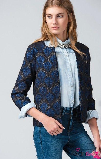 Trendyol Bayan Lacivert Desenli Kislik Ceket Modelleri Kadinlive Com Moda Stilleri Kadin Modasi Moda Trendleri