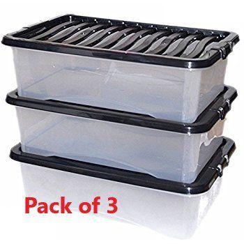 Stockage King Lot De 3boites De Rangement En Plastique De Rangement Sous Lit Britannique Du Fabricant Rangement Plastique Rangement Boite De Rangement