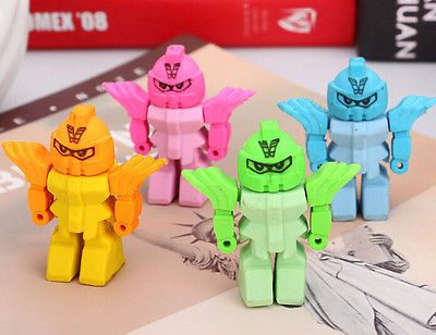 2 x Novelty Removable Transformer robot  Eraser Rubber Stationery Party filler