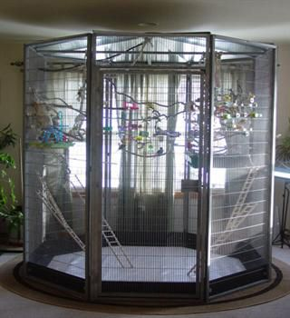 ♥ Pet Bird Cage Ideas ♥ if i get a house and birds again, this is what i want for them! not that small crap