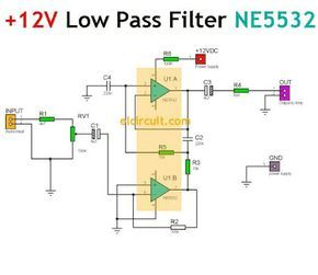 Simple 12v Low Pass Filter Ne5532 Subwoofer Amplifier Electronic Circuit Projects Circuit Diagram