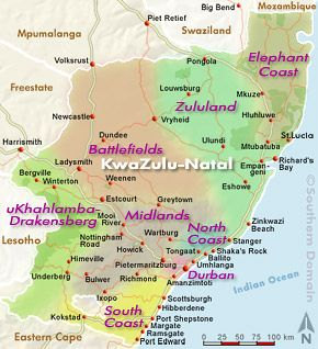 KwaZuluNatal South Africa Map Learn more about Africa at www