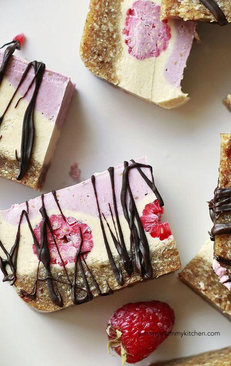 Raspberry Raw Vegan Cheesecake Slice