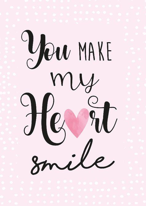 Lieve valentijnskaart met de tekst 'you make my heart smile', verkrijgbaar bij #kaartje2go voor €1,89