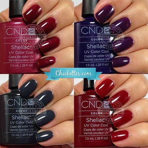 I'm working my way through some of my untried colors that are suitable for winter. Today I have a few CND Shellac colors to share with you. I purchased a huge lot of used polishes on eBay a w…