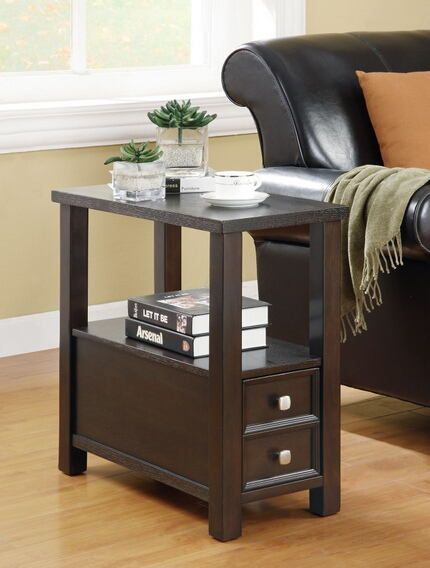 900992 Charlton Home Viscotte Espresso Finish Wood Frame Chair Side End Table Chair Side Table End Tables With Drawers Furniture